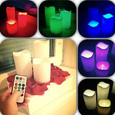 """4"""" 5"""" 6"""" 3pcs Flameless LED Candle Lights 12 Color Changing with Remote Control"""
