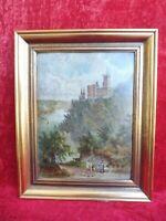 Sehr altes Gemälde, Landschaft / Burg am Rhein : Schloß Stolzenfels bei Koblenz