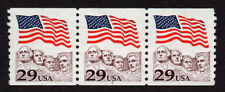 UNITED STATES, SCOTT # 2523, COIL STRIP OF 3 PNC # 7, RUSHMORE WITH SMALL FAULT