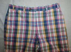 Brooks Brothers Cotton Madras Plaid Pants Men Sz 34 x 30 Pink Blue Casual Blazer