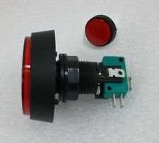"2-3/8"" 60MM Big Round RED Push Button Switch With 12v Light Lamp Arcade NO/NC"