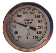 "Central Boiler Large 3"" Dial Temperature Gauge Water Temp Sensor Threaded #174"