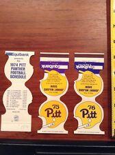 1974 1975 1976 Pitt Panther College Football Schedule Matchbook lot