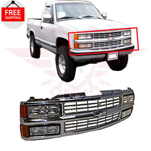 Bundle Chrome Grille Head And Side Lights For 1994-1999 CHEVROLET C1500 SUBURBAN