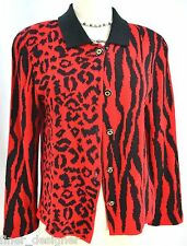 San Remo by Laura Knits Red Black stretch KNIT Cardigan Sweater jungle PS vtg 80
