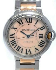 Cartier Ballon Bleu 18K RG/ SS Pink MOP Dial Ladies 36mm Automatic B/P 3284