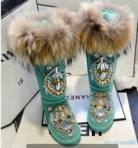 Winter Womens Warm Snow Boots Real Leather Fox Fur Rhinestone Shoes Knee High Sz