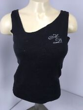 Harley-Davidson Embroidered Womens M Tank Top Shirt Black Stitched Short Biker