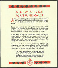 A NEW SEVICE FOR TRUNK CALLS ORIGINAL GPO LEAFLET