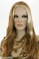 Strawberry Blonde Streak Pale Blonde Long Skin Top Straight Wigs