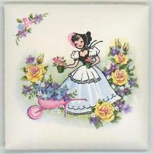 VINTAGE 1930S GIRL BONNET YELLOW ROSES TINY PERFUME SACHET PAPER ART PRINT