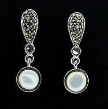 Sterling Silver Marcasite & Mother of Pearl Vintage Style Drop Dangle Earrings
