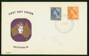 Mayfairstamps Australia FDC 1954 QEII Guthrie Dual Frank First Day Cover wwp7981