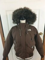 The North Face HyVent Goose Down Fill Hooded Coat Brown Parka Jacket Womens SM