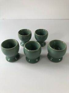 Vintage Set Of 5 Denby Manor Green Egg Cups