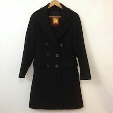 VTG Anne Klein Black Wool Double Breasted Coat Womens SZ M Long Trench Designer