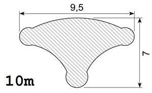 10m Füllerprofil (1,90€/m) 9,5x7mm PVC schwarz DMF-P-772-10