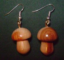Wooden mushroom earrings, 2.5cm long, made in Mid Wales from attractive wood