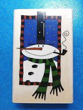 Snowman with Pipe J8026 That's All She Stamped Rubber Stamp 1995 Christmas VGUC