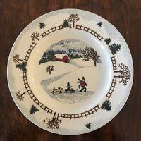 "Folkcraft Stoneware Winterside Salad Plates 8 1/2"" diameter"