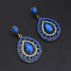 Ethnic Long Luxury Pendant Retro Red Large Crystal Drop Earrings Fashion Jewelry