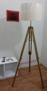 Antique Brass Rustic Marine Wooden Tripod Floor Lamp Stand Retro Shade Lamp