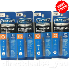 (New) CENTURY DRILL & TOOL #68225 T-25 Star-Drive  Screwdriver Bits Pack of 4