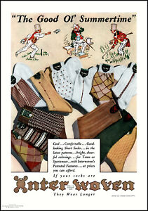 1938 Good Ol' Summertime Sports Interwoven Men's Socks vintage art print ad L26