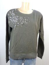ESPRIT Sweater Sweatshirt Pailetten Schlamm Gr. S 36  (DG58)