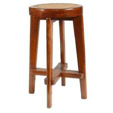 Original PIERRE JEANNERET Caned Teak Bar Stool from Chandigarh, India c. 1955