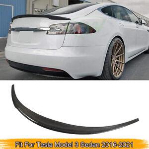 Fits Tesla Model 3 Sedan 2016-2021 Rear Trunk Spoiler Boot Wing Carbon Fiber