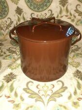 Vintage Dansk Kobenstyle Brown Enamel Dutch Oven Stock Pot Danish Modern 8 Qt.