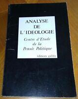 ANALYSE DE L'IDEOLOGIE Centre d'Etude de la Pensée Politique 1980. Sociologie