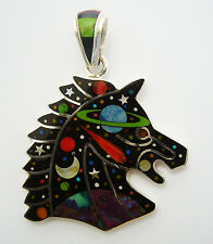 HANDCRAFTED .925 SILVER HORSE HEAD  PENDANT IN TURQUOISE /MULTICOLOR INLAY