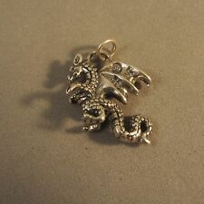 .925 Sterling Silver 3-D DRAGON CHARM NEW Pendant Chinese New Year 925 MY17