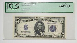 1934 D PCGS 66PPQ Wide I $5 Silver Certificate Item#P14040