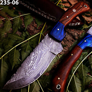 """8.75""""Custom Hand Forged Damascus Steel Blade Skinner Knife With Leather Sheath"""