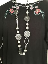 LADIES BEADS NECKLACE NEW WITH TAGS GREYS/SILVER/BLACK ADJ LENGTH CHUNKY