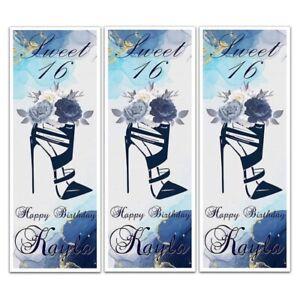 PERSONALISED LADIES SHOE HEELS FLOWER SWEET 16 BIRTHDAY BANNERS WALL DECORATIONS