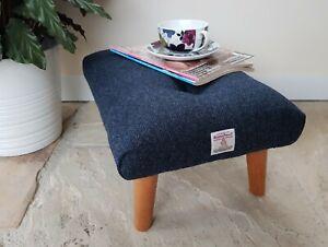 Navy Blue Harris tweed herringbone footstool, blue handmade foot rest
