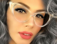 Women VINTAGE RETRO 60s CAT EYE Style Clear Lens EYE GLASSES Transparent  Frame