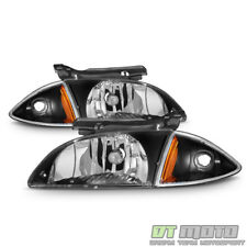Black 2000-2002 Chevy Cavalier Headlights+Corner Lamps 4 Pcs 00 01 02 Left+Right