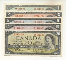 CANADA 1954 SET OF 5 NOTES $1, $2, $5, $10, $20. MODIFIED PORTRAIT VF/EF #728