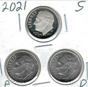 2021-S San Francisco Proof Roosevelt Dime Plus BU Philadelphia, Denver (3 Coins)