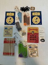VINTAGE LOT OF SNAP FASTENERS, HOOKS EYES AND LOOPS AND OTHER VINTAGE SEWING