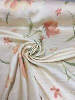 BEAUTIFUL PEACH FLORAL SUMMER PRINT CURTAIN FABRIC 5 METRES