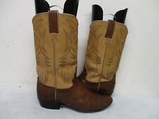 Justin White Label Brown Lizard Cowboy Boots Womens Size 7.5 A Style T4585 USA