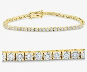 5.00 Ct Top Quality Diamond Tennis Bracelet , 18k yellow Gold