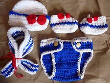 Baby Girls Infant Crochet Knit Sailor Costume Photography Prop Outfits
