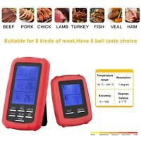 New Digital Wireless Remote Dual 2 Probe Cooking Food Meat Oven BBQ Thermometer